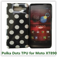 1PCS Drop Shipping Popular Polka Dots Soft TPU Candy Back Skin Cover Case for Motorola RAZR i XT890 Phone Bags(China)