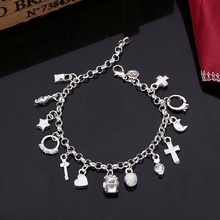Ebay Hot Selling Silver Plated Fashion Pendant Charm Hanging Heart Bracelet for Women Jewelry(China)
