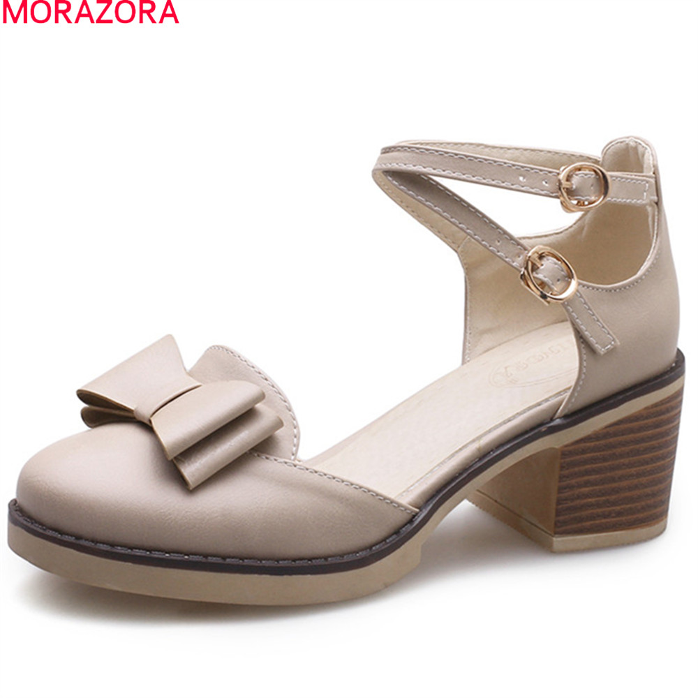 MORAZORA summer spring sweet ladies pumps high heels round toe with buckle square heel with butterfly knot woman shoes<br>