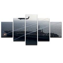 Modular Painting Home Decor Frame Room Aircraft Carrier Posters HD Printed Canvas 5 Pieces Helicopter Pictures Wall Art Modern(China)