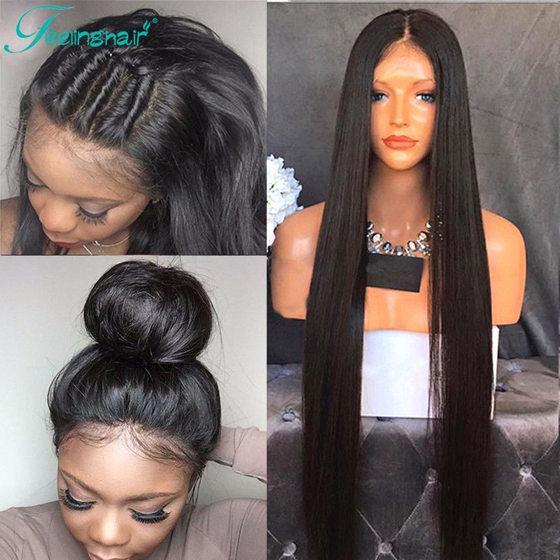 8A Straight Full Lace Human Hair Wigs For Black Women Brazilian Virgin Hair Full Lace Wigs Glueless Lace Front Human Hair Wigs<br><br>Aliexpress