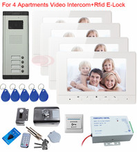 "Intercom Door Phone For 4 Family Entry Door Security Systems Monitors 7 ""With Audio Video Doorphone Monitor Rfid Electric lock"