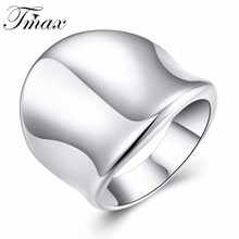 New Style Large Thumb Plate Rings Silver Plated Trendy Simple Design Wedding Engagement White Jewelry Accessories HFNE0880(China)