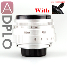 25mm F1.8 Camera Lens With cleaning Pen + Mini 25mm F1.8 APS-C Television TV Lens/CCTV Lens Suit For 16mm C Mount Camera(China)