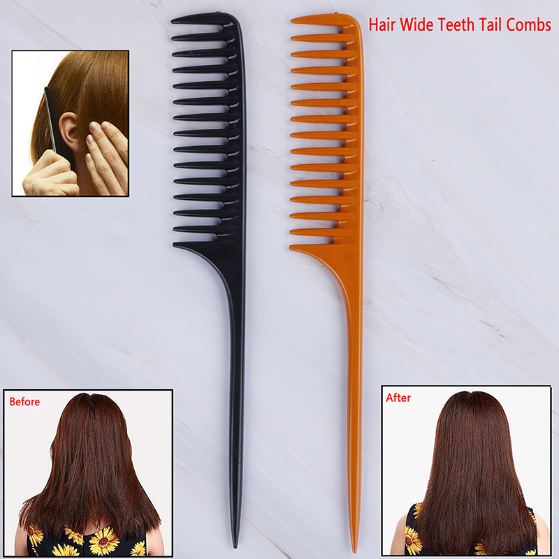 1 Pc Professional Tip Tail Comb For Salon Barber Section Hair Brush Hairdressing Tool DIY Hair Wide Teeth Combs 2 Colors