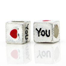 NEW Wholesale 1Pc Bead Alloy Bead Charm European Silver Love You Letter Bead DIY Fit Pandora BIAGI Bracelets & Bangles(China)