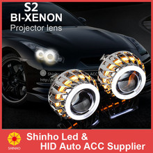 Factory Price Car BI Xenon HID H4 H7 H1 Projector Kits CCFL Double Angel Eyes Projector Lens Bulbs Waterproof Free Shipping
