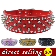 10pcs/lot Wholesale Pet Dog Collars Large 2 Inch Wide Leather Spiked Studded Adjustable Buckle Pitbulls Collar Red Black Pink