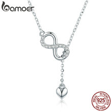 Buy BAMOER Hot Sale 100% 925 Sterling Silver Infinity Forever Love Chain Pendant Necklaces Women Sterling Silver Jewelry SCN223 for $10.51 in AliExpress store
