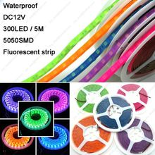 5M DC12V 5050SMD 60LED/M 300LEDs IP65 Epoxy Waterproof Fluorescent LED Strip Neon Strip Orange/Green/Blue/Pink/Purple Color