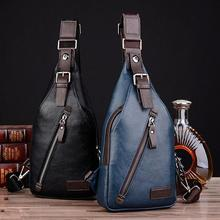 Hot Famous Design Theftproof Magnetic Button Open Leather Mens Chest Bags Fashion Travel Crossbody Bag Man Messenger Bag