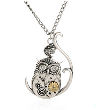 2017 New Hot Charm Punk Steampunk Silver Owl Machinery Gear Rivet Pendant Necklace