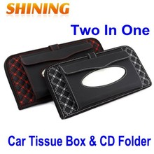Auto Supplies Car/Bus/Truck CD Folder & Tissue Box Two In One, Car Napkin Tissue Paper Holder Box, Paper Handkerchief Case