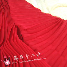 1psc Clothing special cloth Bright red solid color organ pleated crinkle chiffon Bridal festival full-skirted dress fabrics
