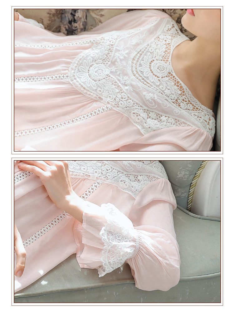 Women Vintage Style Women's Gown Flare Sleeve Pink Cotton Night Dress Long Nightdress Laced Nightshirt Victorian Nightgown 39