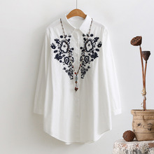 2017 Spring New Original National Wind Embroidery Cotton Women's Shirt Body Long Sleeve Single Breasted Blouses Shirts