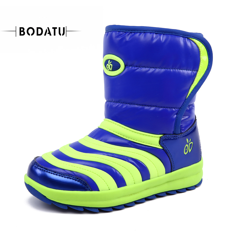 BODATU Snow Boots For Kids Winter Shoes RUBBER Boots WATERPROOF UNISEX Mid-calf Hook&amp;loop Sewing WARM Round Toe Cool DW1569<br>