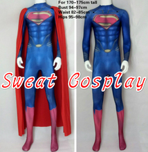 High Quality For 170cm Tall Superman Costume With Cape Superman Suit Spandex Lycra Halloween Cosplay Costume