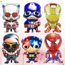 6pcs Kids Birthday Party Decoration Idea Avengers Mylar balloons toy super hero Captain theme send Inflator