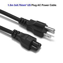 50pcs 3 Prong Power Cable US USA American EU CN Plug C5 Cloverleaf Power Cord 1.5m 5ft 0.75mm2 For Notebook Laptop LG LCD