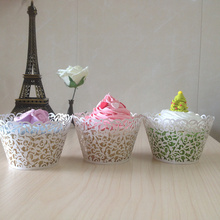 Big Heard Love 50pcs Lace cupcake wrapper laser cut muffin cup cake cup wrappers pearl paper wedding party decoration supplies
