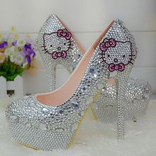 Customize  Rhinestone  Cat  Hold  Intermediate/small  Bow-knot   Wedding Shoes  Slip On Bridal Shoes  Platform Shoes  No70