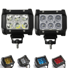 2pcs 4inch 18W Led Work Light 12V 24 Driving Lamp 4D 5D Lens Offroad Led Light Bar 6500 White Yellow Blue Red Car Off Road 4x4WD(China)