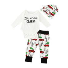 FEE HUG Baby Rompers Sets 2017 Newborn Car Pattern Long Sleeve Rompers +Pants +Hats 3pcs Clothing Suits Girls Christmas Jumpsuit(China)