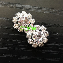 10pcs/lot, 21mm Flower Faux Pearl Shank Clear Rhinestone Buttons, Sewing Craft, hair accessories