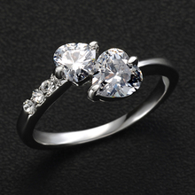 17KM 2/Color hot New Design Fashion double heart Rose Gold Color Zircon Austrian Crystal wedding Rings jewelry(China)