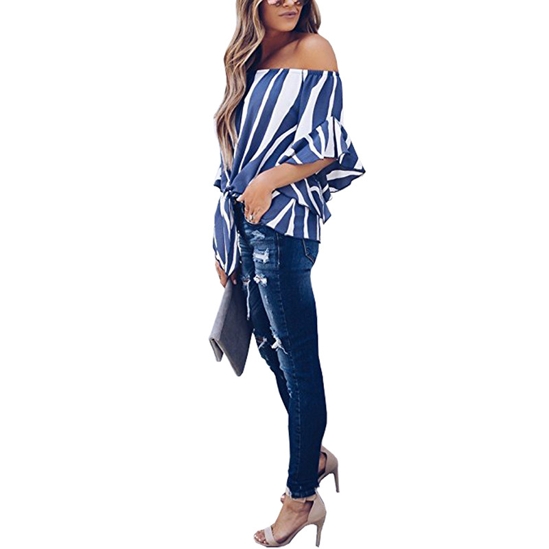 LOSSKY Women's Striped Chiffon Shirts Blouse Sexy Off Shoulders Bandage Women Casual Blusas Shirt 2018 Summer Loose Elegant Tops 22