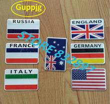 3D Aluminum Russia Flag car stickers American Italy France Germany England Australia Badge Emblem Decal Auto car styling sticker(China)