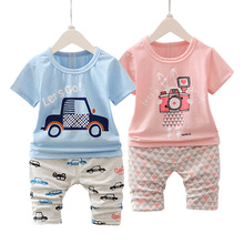 2017 New Kids baby Boys Clothes Summer Cartoon pattern Toddler Boys Clothing Set Baby Boy Clothes Summer Children Clothing sets(China)