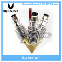 Diamond  3D Printer Extruder Reprap Hotend 3D V6 heatsink   3 IN 1 OUT  Multi Nozzle Extruder Prusa I3 kit for 1.75/0.4mm
