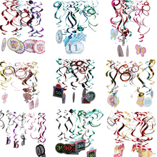 New Hot PVC 12 Pcs Assorted Foil Hanging Swirls 1st 16th 30th 50th Birthday Baby Shower Party Paper Cutout Decoration Accessory