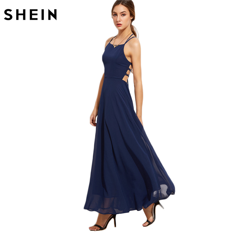 SHEIN Occasion Elegant Dresses Spaghetti Strap Party Dress Ladies Navy Lace Up Back Sleeveless Cami A Line Maxi Dress(China)