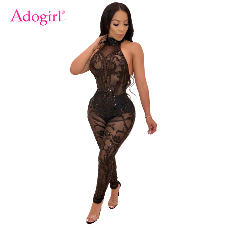 Adogirl Sequins Sheer Mesh Sleeveless Halter Jumpsuit Women Sexy Backless Bandage Jumpsuits Night Club Party Romper Overalls