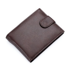 Hot Sale Fashion New Fine Quality Mens Patent Leather Wallet Coin Change Pocket Black Brown Colors 3 Folds Purse Wallets For Men(China)