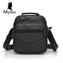 MYNOS 100% Genuine Leather Men Bag Luxury Brand Designer Vintage Business Messenger Bags Shoulder Crossbody Bag Men Male Bag