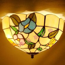 The American country welding Ceiling stained glass puzzle balcony bedroom lamps children's room art lighting Garden