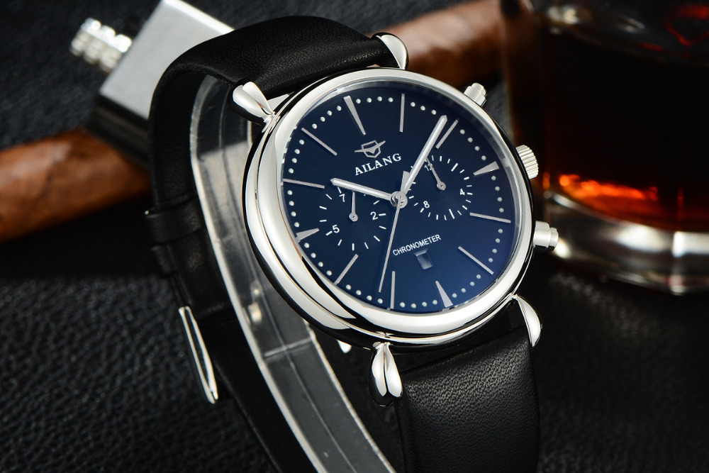 Relogio Masculino AILANG Multi functional Watches Neutral Montre Homme Luminous Calendar Watch Leather Workable Sub-dial Relojes<br>