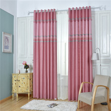 Pink warm fabric simple linen finished custom in the high-end bedroom window curtains for living room(China)