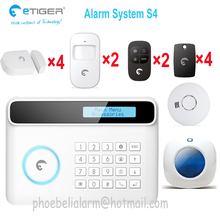 Great function protect your home safe security system e tiger S4 APP control wireless alarm system 4 languages menu switch