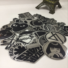 50pcs/lot Metallic Color Black and White DIY Stickers for Skateboard Laptop Snowboard Phone Fashion Home Decor Kids Toys Gifts