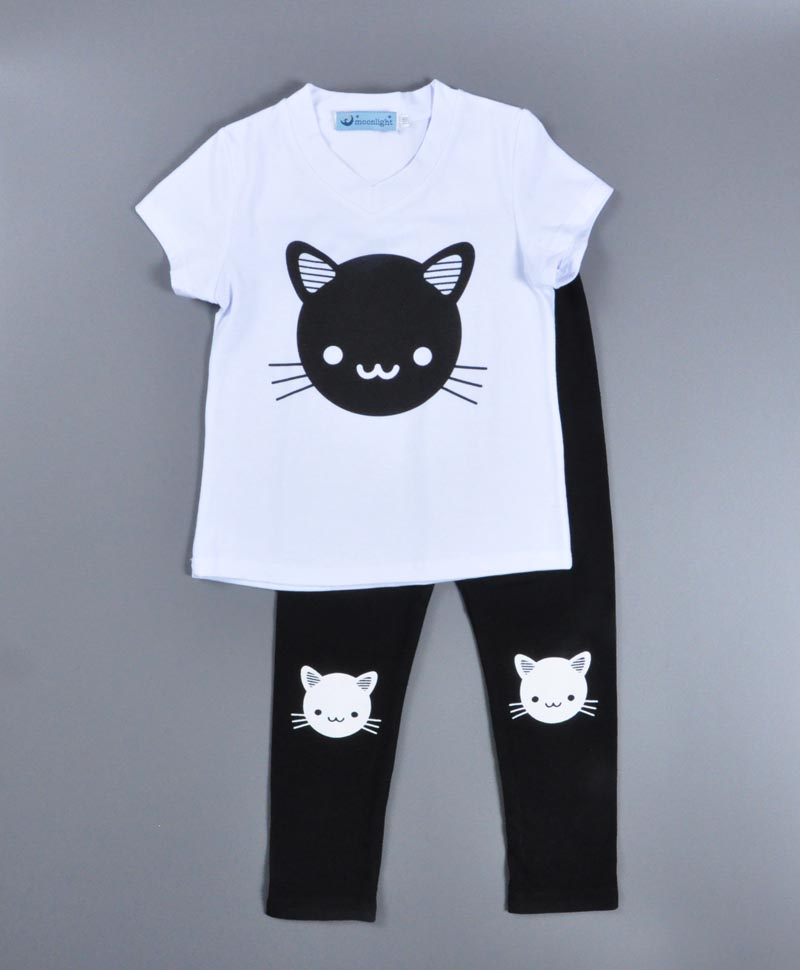 Fashion summer Kids girl set 2017 Cartoon cat pattern printing Shortsleeve T-shirt+pants 2pcs set Summer boys girls clothing set<br><br>Aliexpress