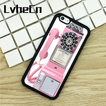 LvheCn TPU Phone Cases For iPhone 6 6S 7 8 Plus X 5 5S 5C SE 4 4S ipod touch 4 5 6 Cover PINK PUBLIC PAYPHONE CUTE RETRO VINTAGE(China)