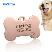 YVYOO Dog collar Stainless steel dog cat tag Free engraving Pet Dog collar accessories ID tag name telephone Personalized  B03