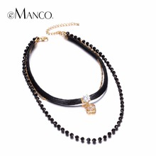 eManco Stylish Multilayer Tattoo Choker Necklaces for Women Black Crystal Rope Wax Chain Clover Pendants Brand Jewelry