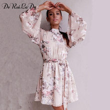 Buy DeRuiLaDy Sexy Backless Lace Flower Print Chiffon Dress Women Flare Sleeve Summer Dresses Casual Beach Mini Dress Vestidos for $13.86 in AliExpress store