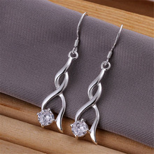 Factory direct NICE cute lady girl high quality charm women crystal silver plated earrings hot selling fashion jewelry E182(China)